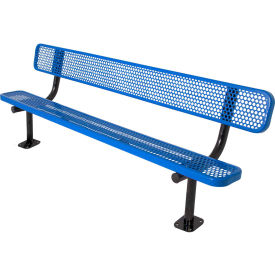 8' Bench with Back, Perforated, Surface Mount, Blue