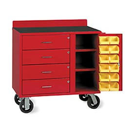 Vari-Tuff Mobile Utiity Bin Cabinet with 4 Drawers and 12 Bins - 36x21x35, Red