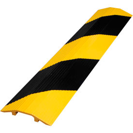 """Vestil Extruded Aluminum Hose & Cable Crossover, Yellow/Black, 24"""" x 2-7/8"""" x 7/16"""""""
