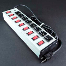 """Wiremold UL209BD Multi-Outlet Power Unit, 125V, 15A, 13""""L, 8 Outlets, 15' Cord"""