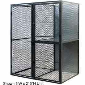 """Husky Rack & Wire Tenant Locker Double Tier Starter Unit  4' W x 4' D x 7'-6"""" Tall"""