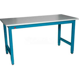 "WSI Adjustable Work Bench PB3672-WB, Laboratory, 36""D X 72""W X 75""H, White Laminate, Blue Epoxy"