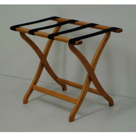 Luggage Rack w/ Concave Legs - Medium Oak/Tan- Pkg Qty 1