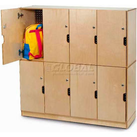 "Four Section Backpack Storage Locker w/Locking Doors, 47-1/2""W x 15-3/4""D x 22-1/2""H, Natural- Pkg Qty 1"