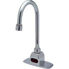 "AquaSense Battery Powered Gooseneck Faucet - with 4"" Cover Plate and Mixing Tree"