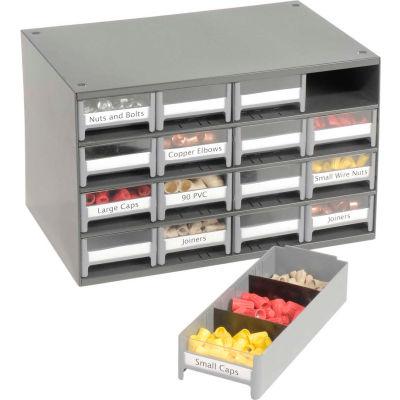 "Akro-Mils Steel Small Parts Storage Cabinet 19416 - 17""W x 11""D x 11""H w/ 16 Gray Drawers"