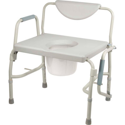 Drive Medical Deluxe Bariatric Drop-Arm Commode, Assembled, 1000 lb. Weight Capacity