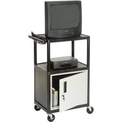 Plastic Security Audio Visual & Instrument Cart 24 x 18 x 42 Single Door