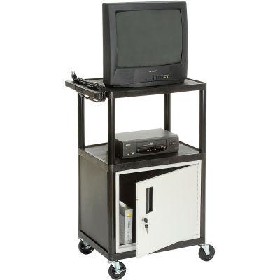 Plastic Security Audio Visual & Instrument Cart 24 X 18 X 34 Single Door