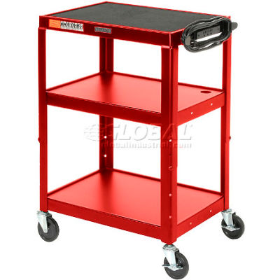 Red Steel Audio Visual & Instrument Cart