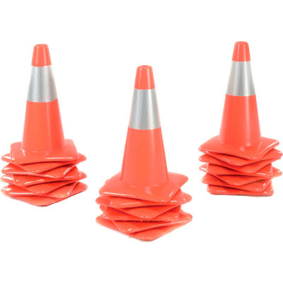 "18"" Traffic Cone, Reflective, Orange, 3 lbs, 1850-M"