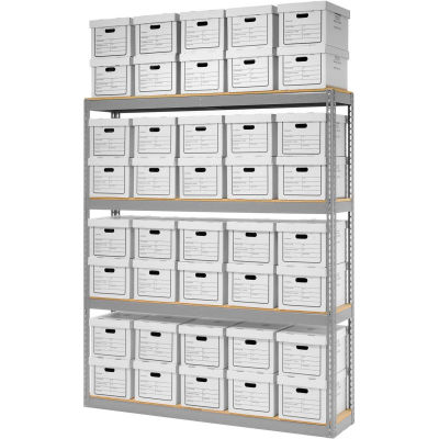 """Global Industrial™ Record Storage Open With Boxes 72""""W x 15""""D x 84""""H - Gray"""