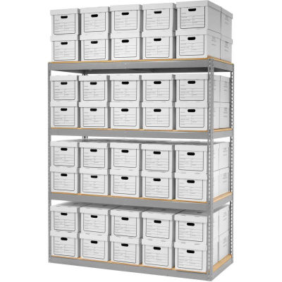 """Global Industrial™ Record Storage Open With Boxes 72""""W x 30""""D x 84""""H - Gray"""