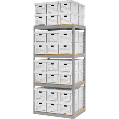 "Global Industrial™ Record Storage Open With Boxes 42""W x 30""D x 84""H - Gray"