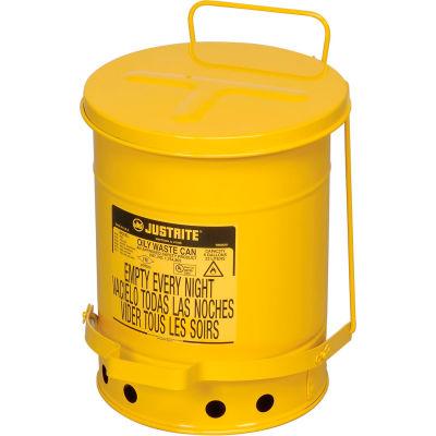 Justrite 6 Gallon Oily Waste Can, Yellow - 09101