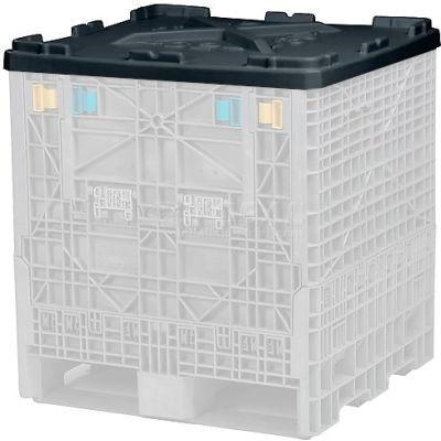 "Monoflo Folding Bulk Shipping Container Lid BC3230LID - 32""L x 30""W Black"