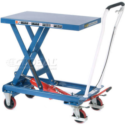 "Global Industrial™ Mobile Single Scissor Lift Table, 32"" x 19"" Platform, 550 Lb.Capacity"