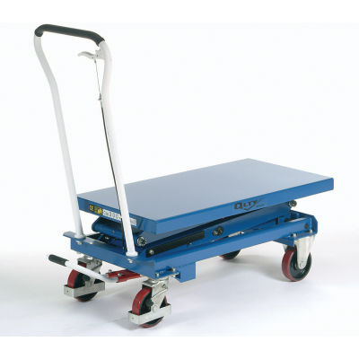 "Global Industrial™, Mobile Double Scissor Lift Table, 39"" x 20"" Platform, 660 Lb. Capacity"