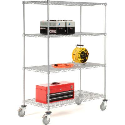 Nexelate® Wire Shelf Truck 60x24x69 1200 Pound Capacity With Brakes