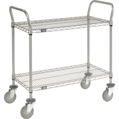 "Nexel® Utility Cart, 2 Shelf, Nexelate® , 36""L x 24""W x 39""H, Polyurethane Casters"