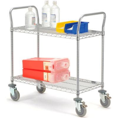 "Nexel® Utility Cart, 2 Shelf, Nexelate® , 36""L x 24""W x 39""H, Polyurethane Brake Casters"