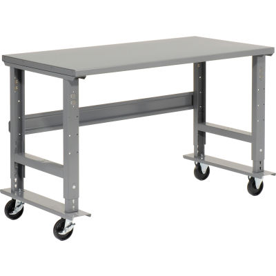 "Global Industrial™ 72""W x 30""D Mobile Adjustable Height C-Channel Leg Workbench - Steel"