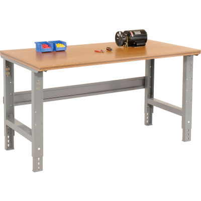 "Global Industrial™ Adjustable Height C-Channel Leg Workbench, Shop Top Square Edge, 48"" x 30"""