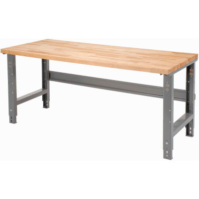 Global Industrial™ 60 x 36 Adjustable Height Workbench C-Channel Leg - Maple Square Edge - Gray