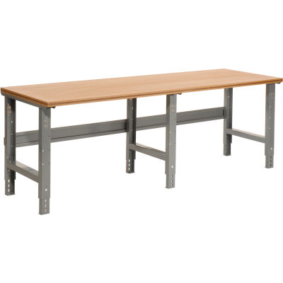 "Global Industrial™ C-Channel Leg Adjustable Height Workbench, Shop Top Square Edge, 96"" x 36"""