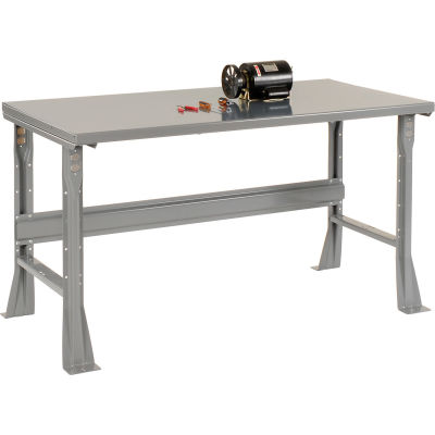 Global Industrial™ 72 x 36 x 34 Fixed Height Workbench Flared Leg - Steel Square Edge - Gray