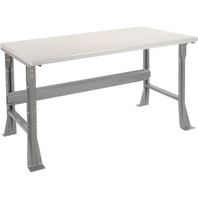 Global Industrial™ 60 x 30 x 34 Fixed Height Workbench Flared Leg - Laminate Safety Edge Gray