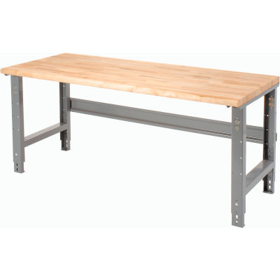 Global Industrial™ 72 x 30 Adjustable Height Workbench C-Channel Leg - Maple Safety Edge - Gray
