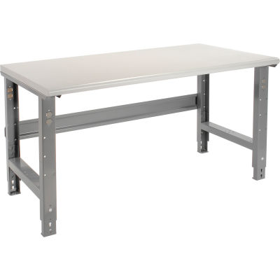 Global Industrial™ 60x30 Adjustable Height Workbench C-Channel Leg - Laminate Safety Edge Gray