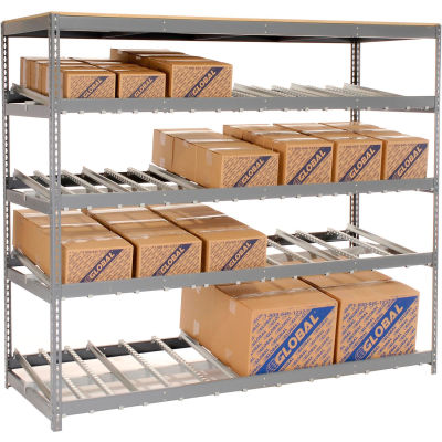 "Global Industrial™ Carton Flow Shelving Single Depth 4 LEVEL 96""W x 36""D x 84""H"