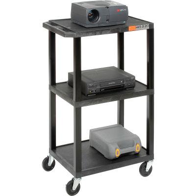 Black Plastic Tuffy Utility Cart 3 Shelves