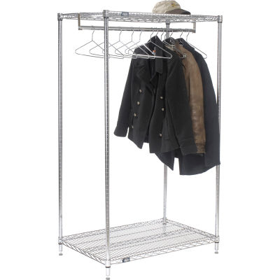"Free Standing Clothes Rack - 2-Shelf - 48""W x 24""D x 63""H - Chrome"