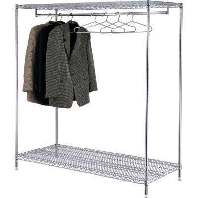 Nexel® Chrome Finish 2-Shelf Free Standing Clothes Rack, Unassembled