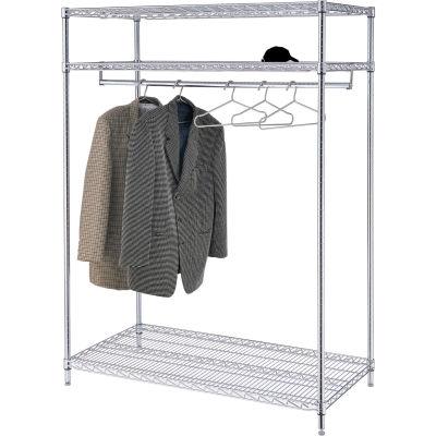 Support à vêtements vertica -3 tablettes -48 po de largeur x24 po de diamètre x74 po de hauteur - Chrome