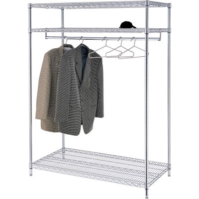 "Free Standing Clothes Rack - 3-Shelf - 48""W x 24""D x 74""H - Chrome"