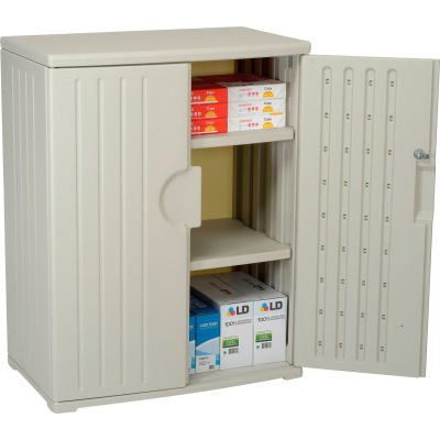 Plastic Storage Cabinet 36x22x46 - Light Gray