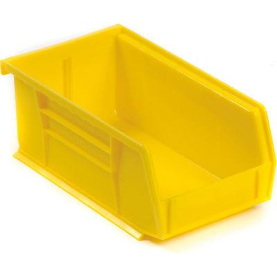 "Akro-Mils® AkroBin® Plastic Stack & Hang Bin, 4-1/8""W x 7-3/8""D x 3""H, Yellow - Pkg Qty 24"