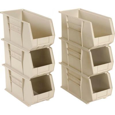 "Akro-Mils® AkroBin® Plastic Stack & Hang Bin, 8-1/4""W x 18""D x 9""H, Stone - Pkg Qty 6"