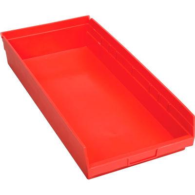 "Global Industrial™ Plastic Nesting Storage Shelf Bin, Red, 11-1/8""W x 23-5/8""D x 4""H - Pkg Qty 6"