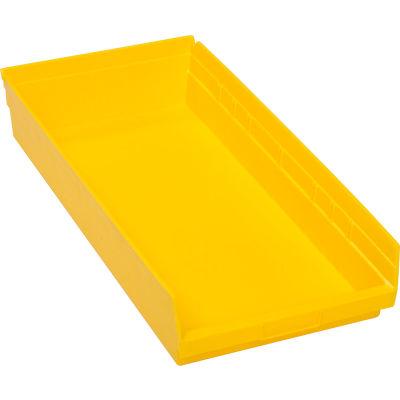 "Global Industrial™ Plastic Nesting Storage Shelf Bin 11-1/8""W x 23-5/8""D x 4""H Yellow - Pkg Qty 6"