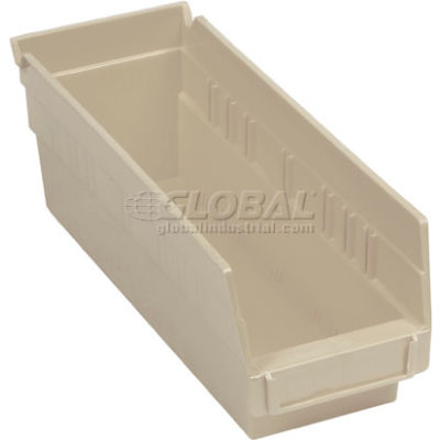"Global Industrial™ Plastic Nesting Storage Shelf Bin 4-1/8""W x 11-5/8""D x 4""H Beige - Pkg Qty 24"