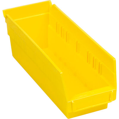 "Global Industrial™ Plastic Nesting Storage Shelf Bin 4-1/8""W x 11-5/8""D x 4""H Yellow - Pkg Qty 24"