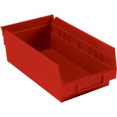 "Global Industrial™ Plastic Nesting Storage Shelf Bin 6-5/8""W x 11-5/8""D x 4""H Red - Pkg Qty 12"