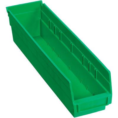 "Global Industrial™ Plastic Nesting Storage Shelf Bin 4-1/8""W x 17-7/8""D x 4""H Green - Pkg Qty 12"