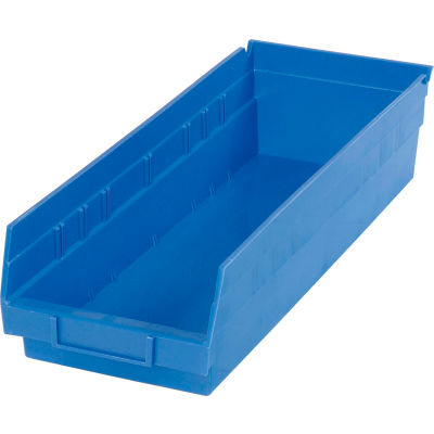 "Global Industrial™ Plastic Nesting Storage Shelf Bin 6-5/8""W x 17-7/8""D x 4""H Blue - Pkg Qty 12"