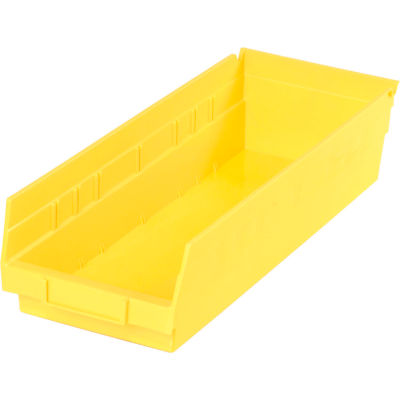 "Global Industrial™ Plastic Nesting Storage Shelf Bin 6-5/8""W x 17-7/8""D x 4""H Yellow - Pkg Qty 12"